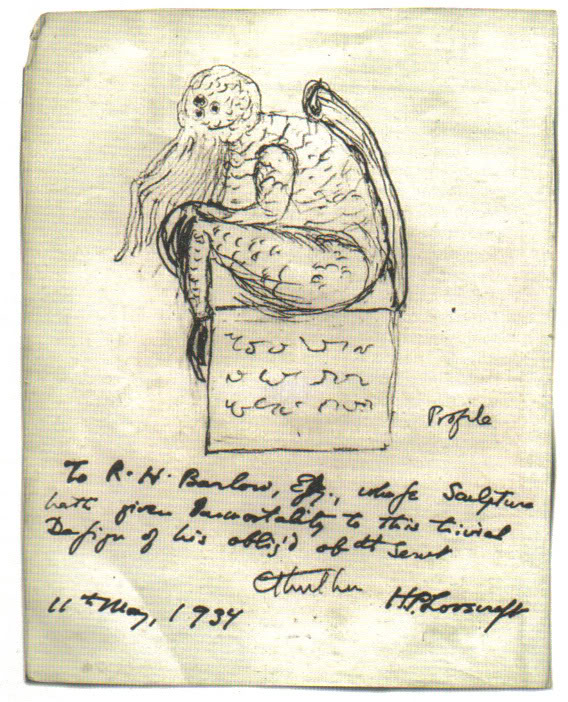 "A sketch made of Cthulhu by H. P. Lovecraft in 1934. First appearance ""The Call of Cthulhu"" (1928) Created by  H. P. Lovecraft"